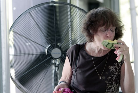 Image: Carol Taff of Jackson, Miss., takes advantage of a floor fan to stay cool