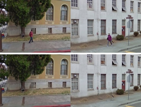 Image: Before and after shots of people removed from Google Street View