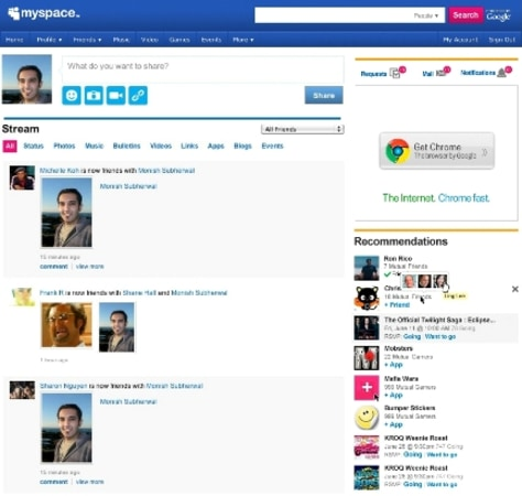 Image: MySpace home page