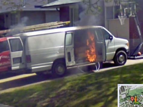 Image: a van on fire, from Google Street View
