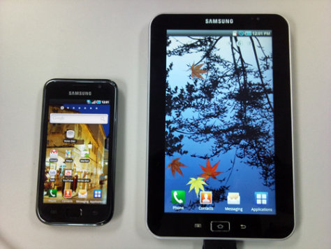 Image: Samsung Galaxy S phone, left, and tablet