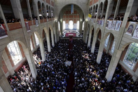 Image: Several thousand people have gathered to mark the opening of a Roman Catholic cathedral named after Mother Teresa in Kosovo's capital Pristina.