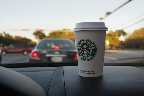 Image: Starbucks on the dash.