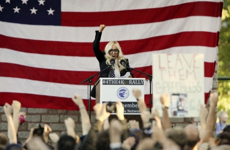 Image: Singer Lady Gaga speaks at a rally in Portland Maine
