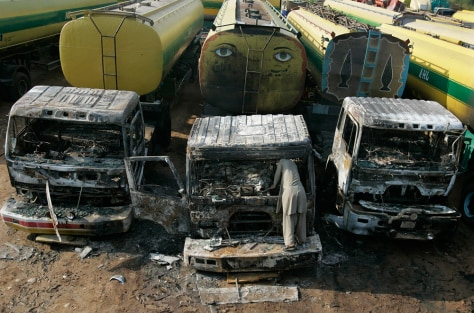 Image: Oil tankers that were set on fire in Pakistan