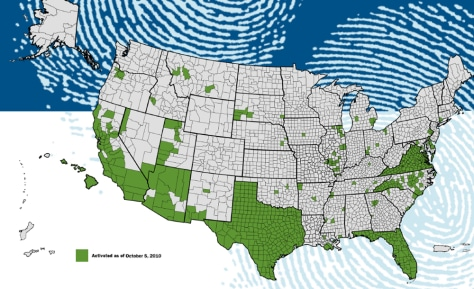Image: ICE map of jurisdictions where biometric information sharing capability has been activated