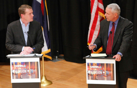 Image: Senatorial candidates Democratic Sen. Michael Bennet and Republican Ken Buck