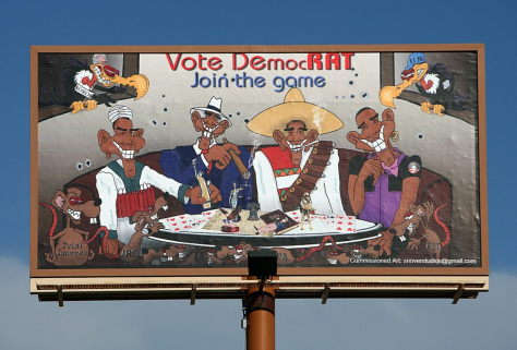 Image: Billboard depicting President Barack Obama as a suicide bomber, a gangster, a Mexican bandit and a gay