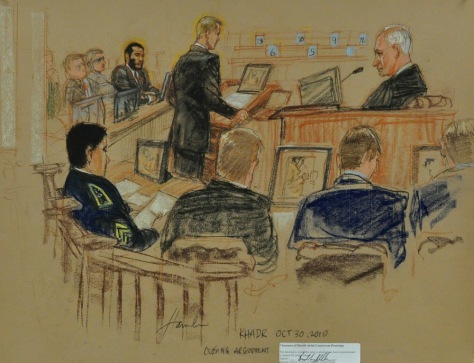 Image: Courtroom drawing of sentencing hearing for Omar Khadr