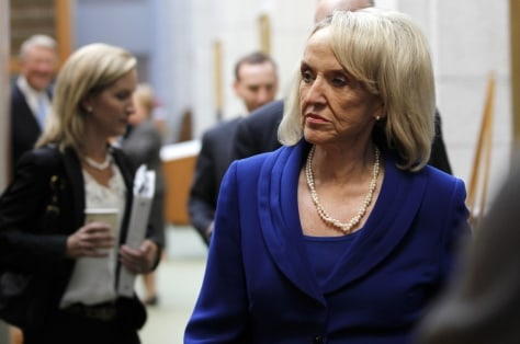 Image: Arizona Governor Jan Brewer enters a news conference at U.S. Ninth Circuit Court of Appeals in San Francisco