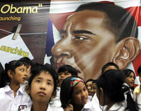 "Image: Students from Asisi Catholic school, the former elementary school of U.S. President Barack Obama, attend a writing coaching session themed ""Messages to President Obama"" by Indonesian writer Damien Dematra, in Jakarta"