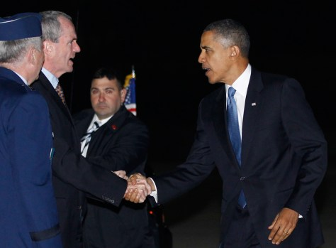 Image: U.S. President Barack Obama greets Ambassar Philip Murphy at Ramstein Air Force Base, Germany.