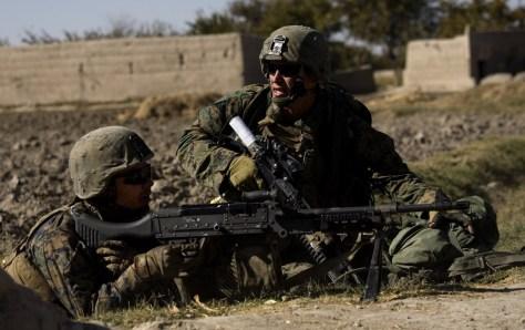 Image: Marines return fire in Sangin, Afghanistan