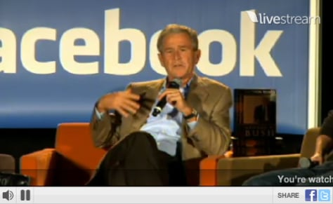 Image: Livestream screengrab of George W. Bush talking at Facebook campus