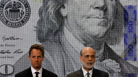 Image: Geithner, Bernanke Take Part In Unveiling Of New Hundred Dollar Bill