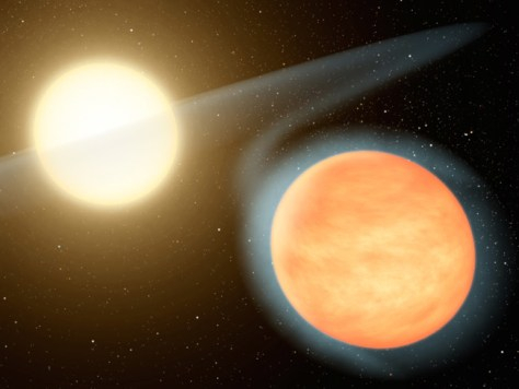 Image: Artist's concept, exoplanet WASP-12b and host star