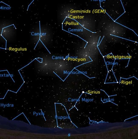 Image: Sky map for Geminid meteor shower, Dec. 14, 2010