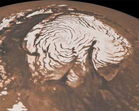 Image: Orbital view of north polar region of Mars