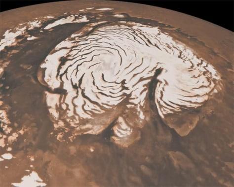 Image: Orbital view of north polar region of Mars
