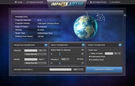 "Image: ""Impact: Earth!"" website"