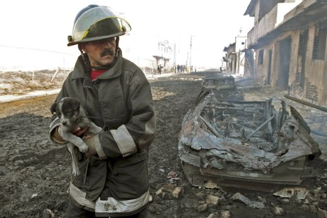 Image: A firefighter carries a puppy after a pipeline explosion in Mexico