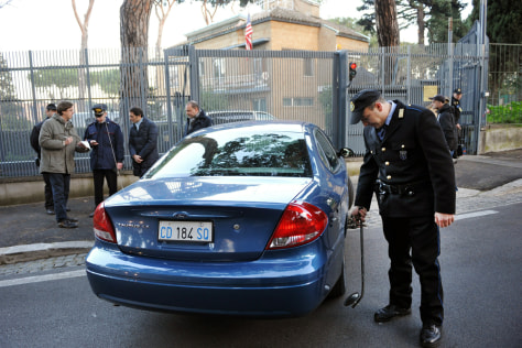 Image: A security checkpoint outside the U.S. Embassy to the Vatican