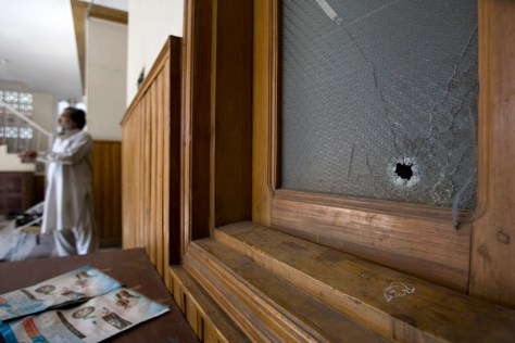 Image: Bullet hole in a window