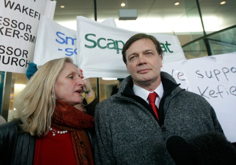Image: British doctor Andrew Wakefield, right, and his wife Carmel arriving at the General Medical Council (GMC) in central London