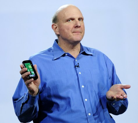 Image: Microsoft CEO Steve Ballmer holds a Wind