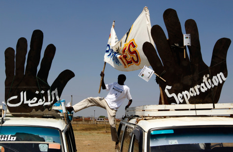 Image: A supporter of independence for southern Sudan