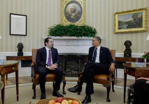 Image: Lebanon's Prime Minister Saad Hariri and President Barack Obama