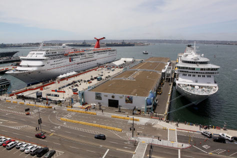 Image: Cruise ships sit docked at the San Diego Cruise ship Terminal.