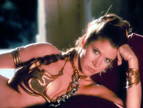 "Image: Carrie Fisher wearing a metal bikini in ""Star Wars Episode VI: Return of the Jedi"""