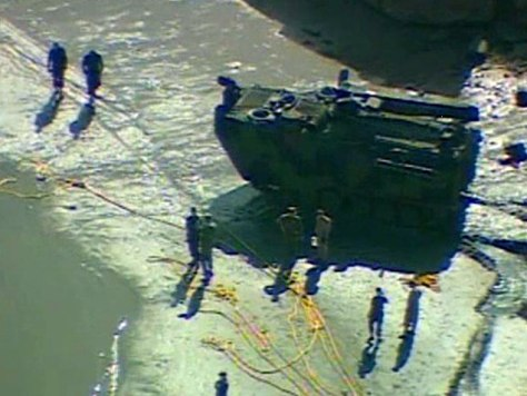 Image: Marines at Camp Pendleton, Calif., work on a rescue mission Friday after an amphibious assault vehicle sinks