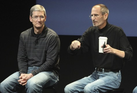 Image: Apple COO Cook and CEO Jobs during a news conference in Cupertino, Calif.