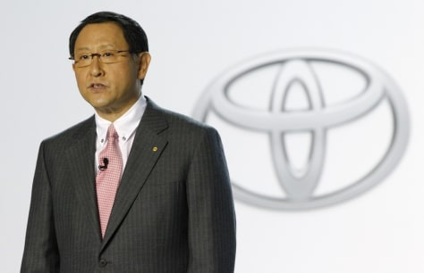 Image: Toyota Motor Corp President Toyoda soeaks before the Prius V is revealed during the North American International Auto show in Detroit
