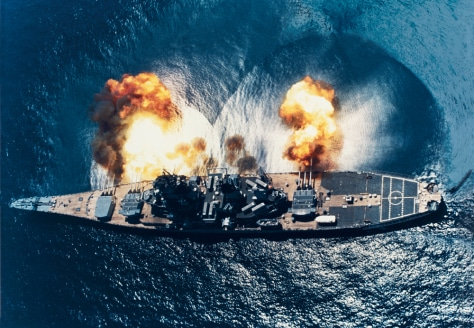 Image: USS Iowafires her guns