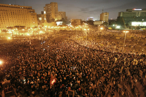 Image: Egyptian demonstrators protest in centra