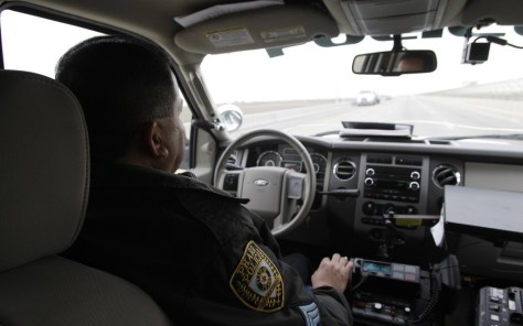 Image: Pharr Police Sgt. Ray Lara drives across International Bridge
