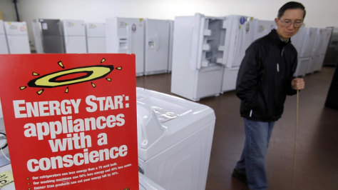 Image: An Energy Star advertisement shown at an appliance store in Mountain View, Calif.