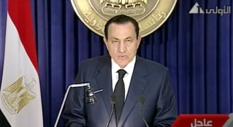 Image: Egyptian President Hosni Mubarak on state TV