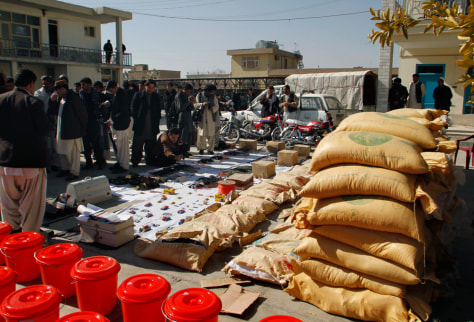 Image: Afghan security forces display confiscated material