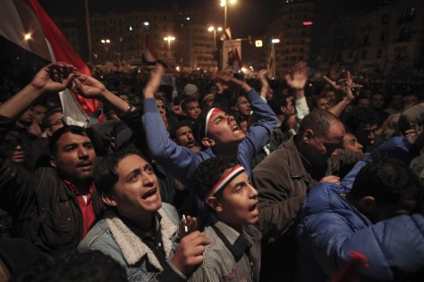 Image: Egyptians in Cairo's Tahrir Square react to Mubarak's speech