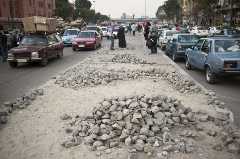 Image: Stones used by Egyptian anti-government demonstrators are seen in Cairo's Tahrir square.