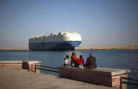 Image: Cargo ship transits Suez Canal