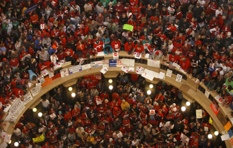 Image: Protesters fill Wisconsin State Capitol