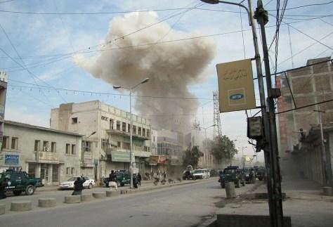 Image: Smoke rises from the area where three Ta