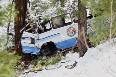 Image: A bus carrying members of a Korean church from Pasadena, Calif., is seen Monday crashed among trees in Twin Peaks, Calif.