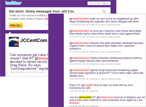 Image: Twitter posts purportedly made by Jeff Cox