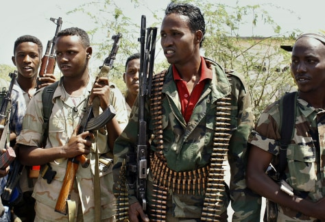 Image: Somali government soldiers in southern Mogadishu